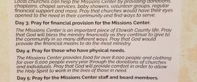 Missions Center Prayer Guide